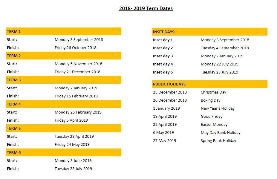2018-2019 Dates