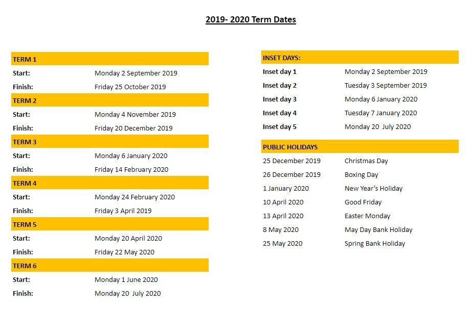 2019-2020 Dates